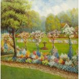 English School (20th century): Country Garden, oil on panel unsigned 80cm x 80cm
