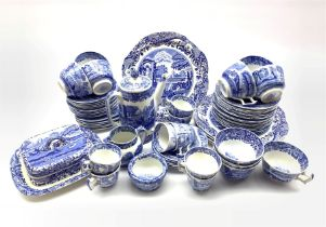 Quantity of Spode's Italian pattern blue and white tea and coffee ware including seven coffee cups,