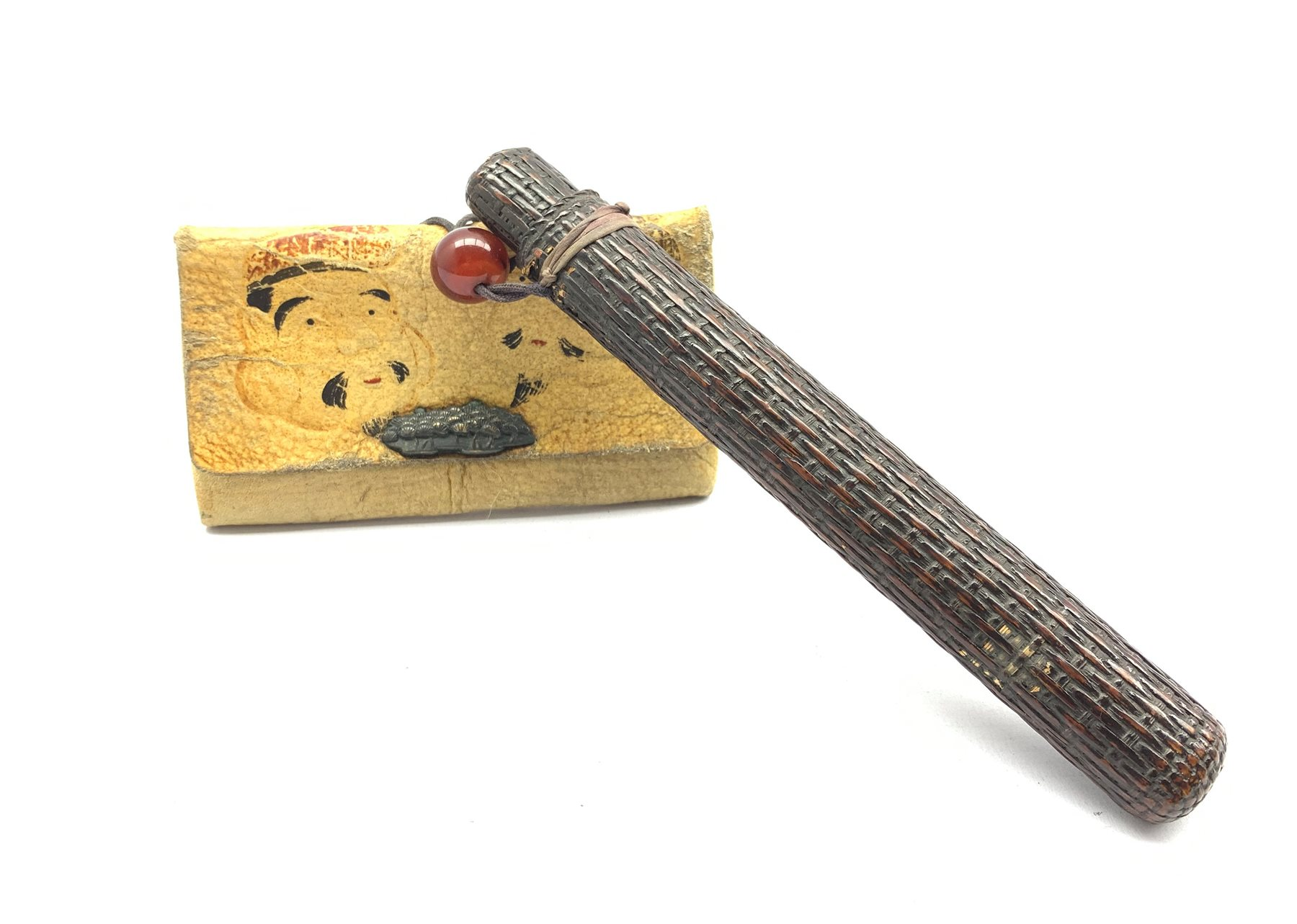 19th century Japanese embroidered tobacco pouch (tabako-ire) with bronze floral moulded mae-kanagu