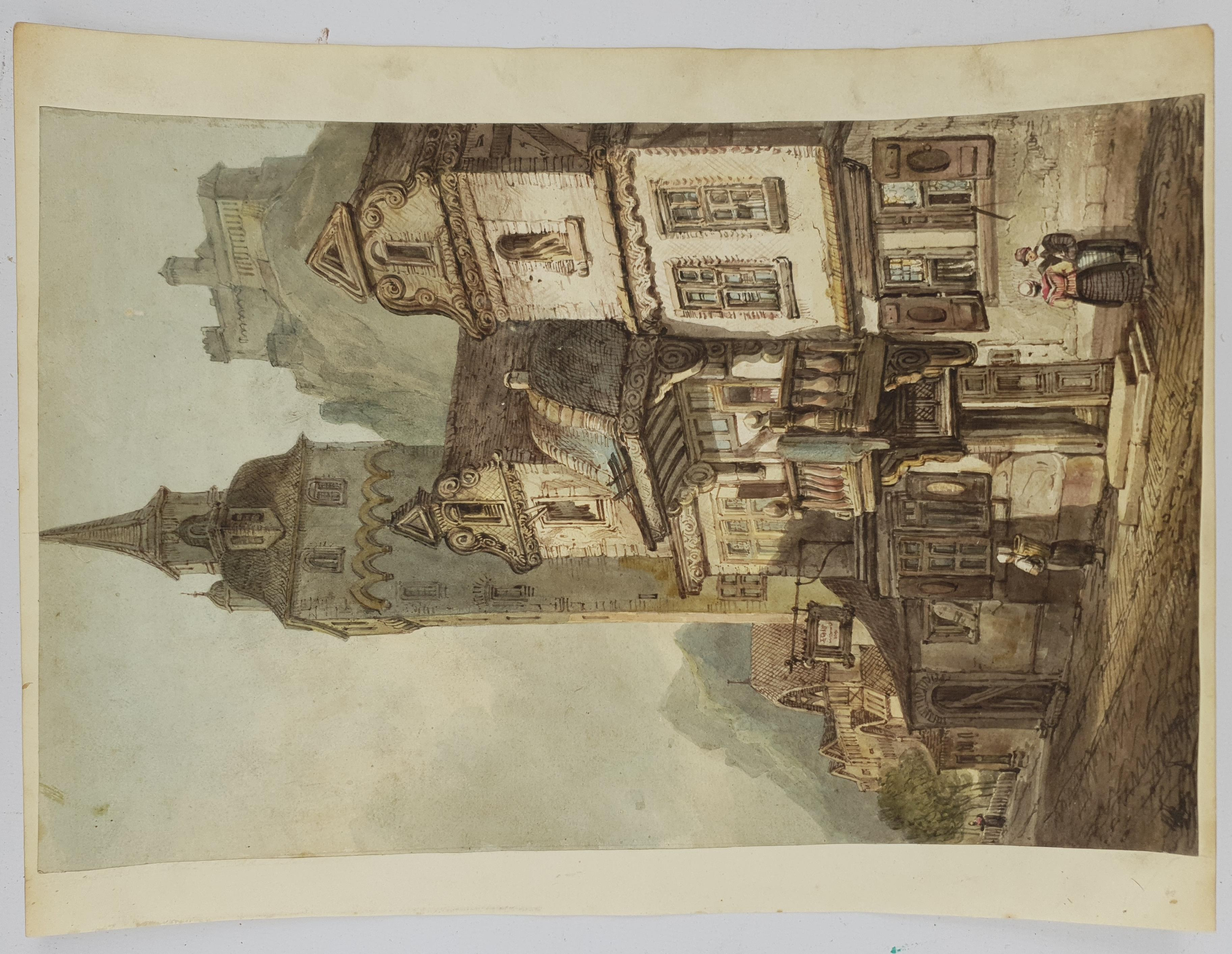Attrib. Samuel Prout (British 1783-1852): Continental Inn before a Mountaintop Castle, watercolour i - Image 2 of 4