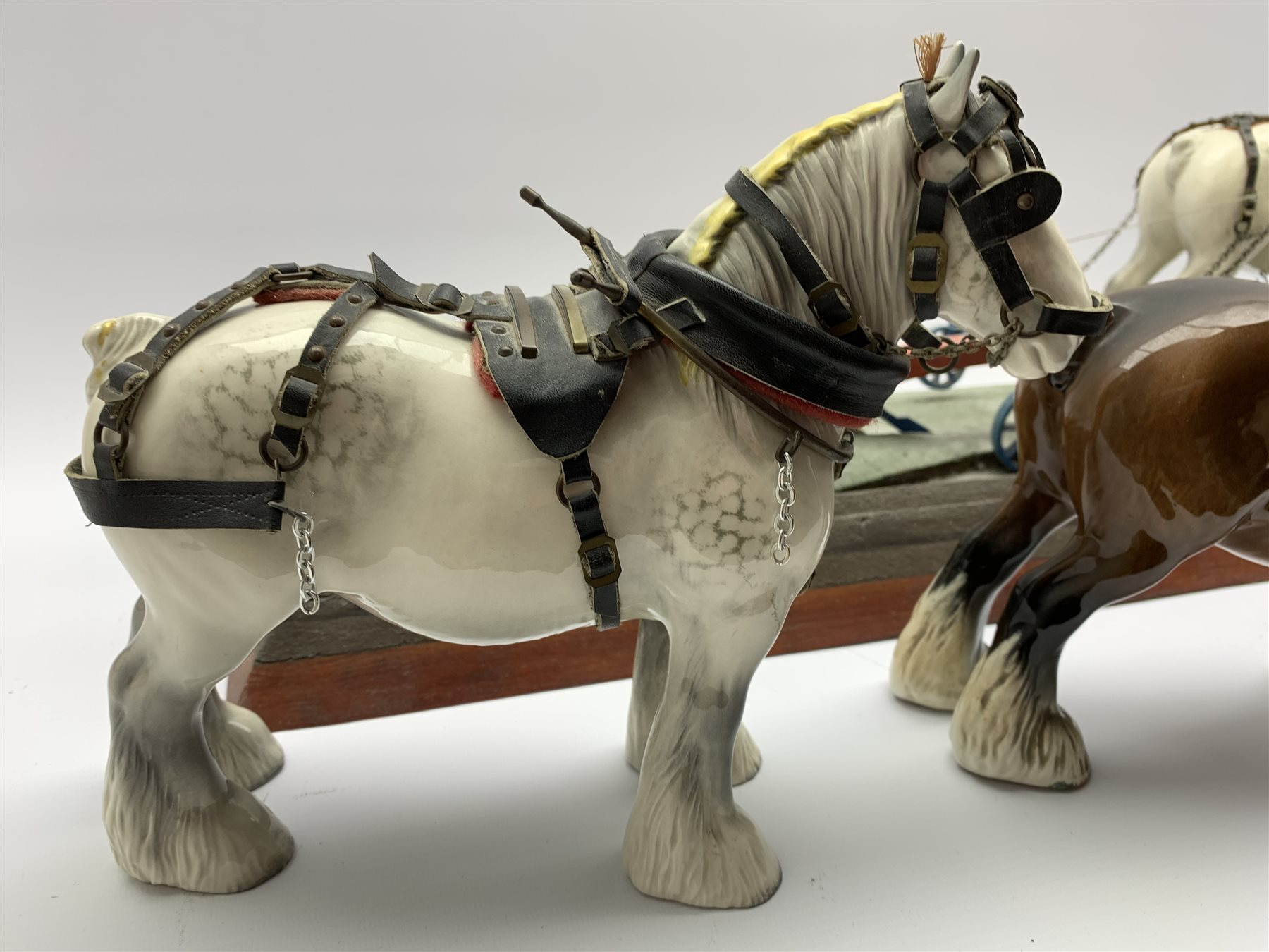 Pair of Beswick grey harnessed shire horses No.818 pulling a single furrow plough and on a wooden ba - Image 3 of 5