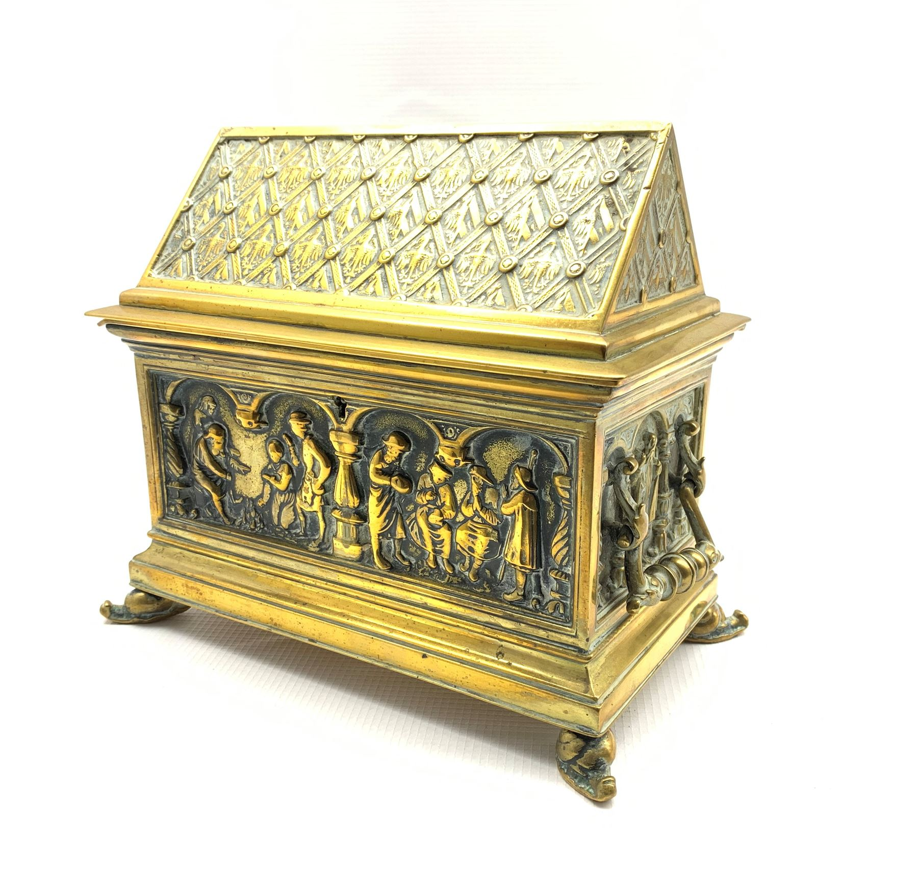19th century twin-handled brass casket by Adolph Frankau & Co. - Image 2 of 4