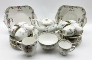 Shelley Bramble Rose pattern tea set comprising nine cups and saucers
