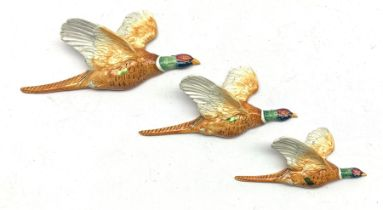 Set of three graduated Beswick Pheasant wall plaques comprising models 661/1