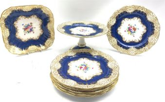 Crown Staffordshire part dessert service with a powder blue ground and decorated with floral sprays