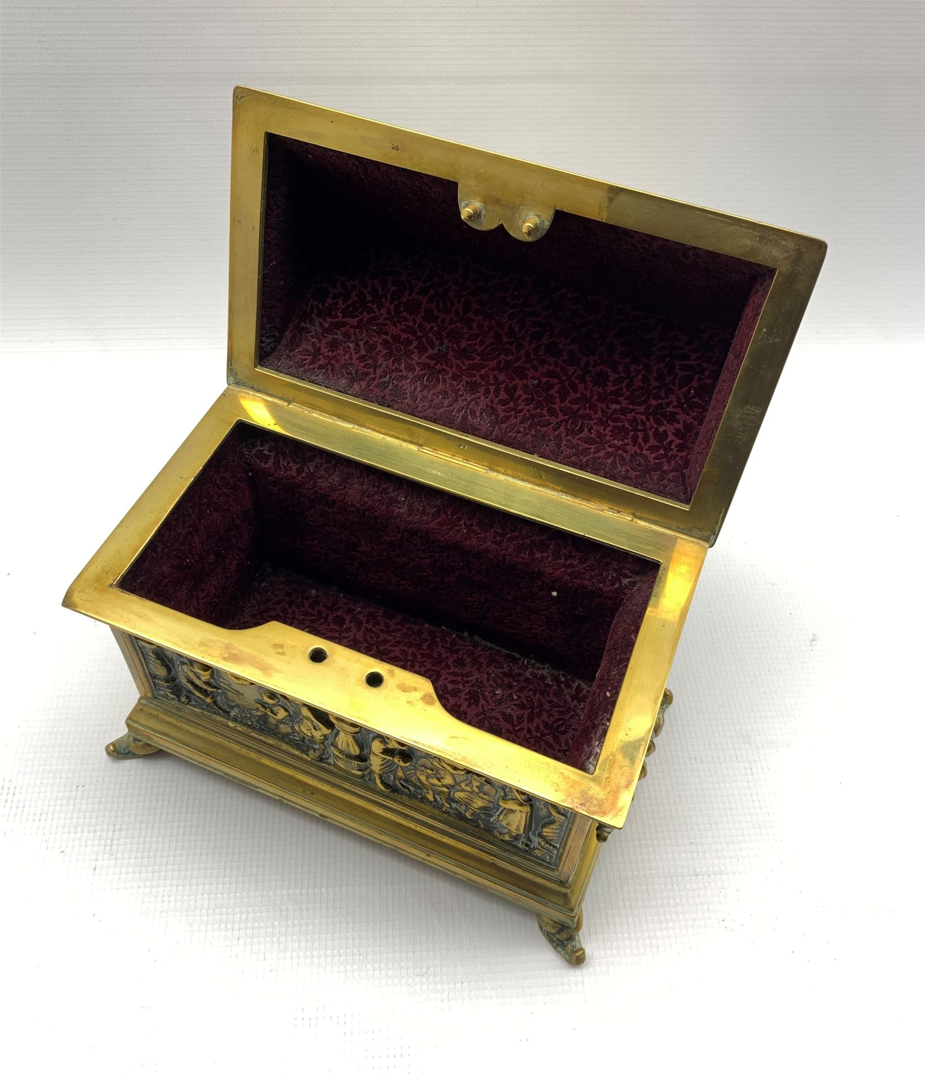 19th century twin-handled brass casket by Adolph Frankau & Co. - Image 3 of 4