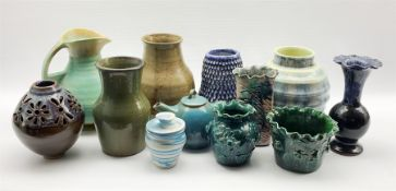 Assortment of Studio pottery to include a Trembath green-glaze vase