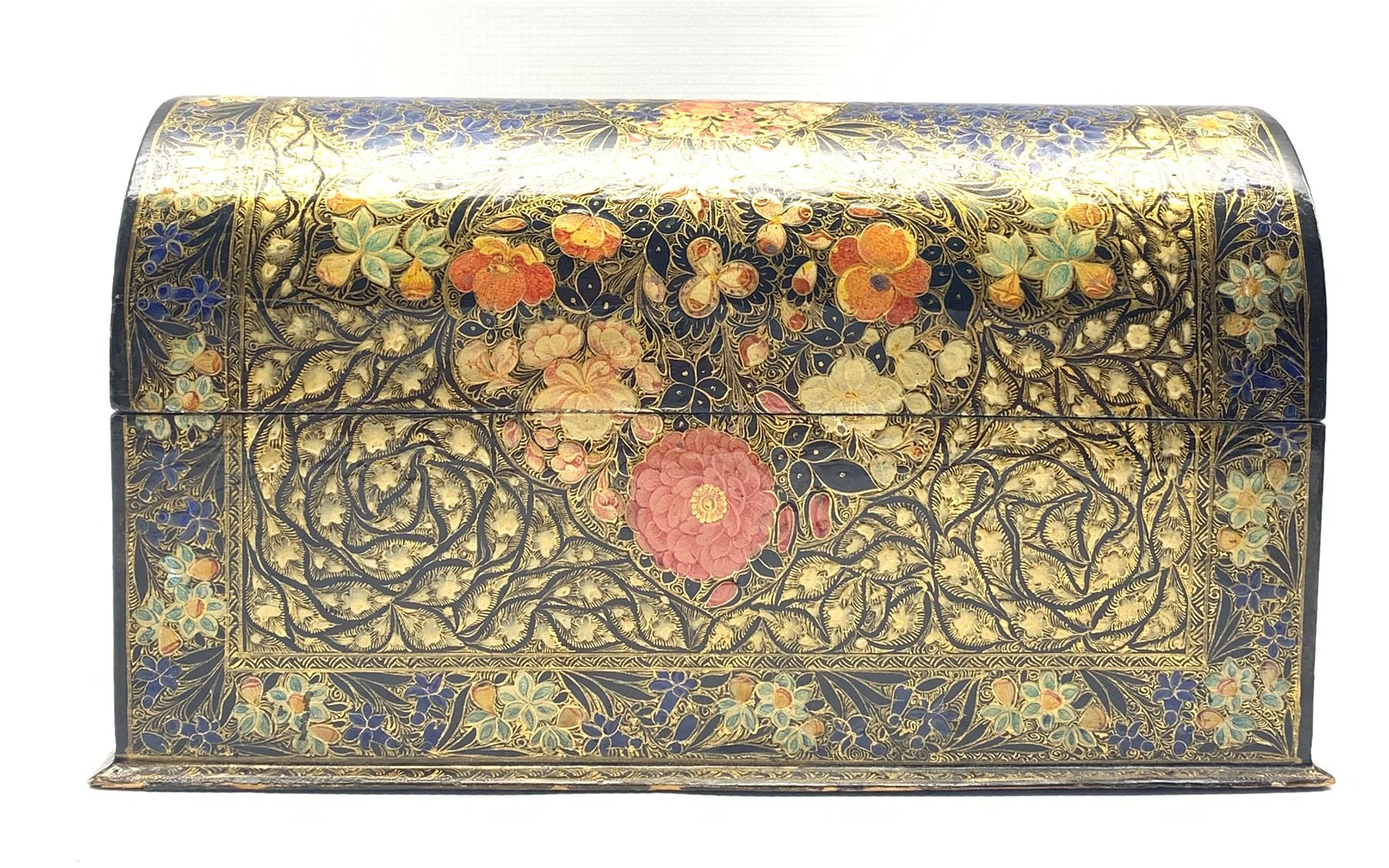 Kashmiri lacquered stationery casket with domed cover and divided interior painted with flower heads