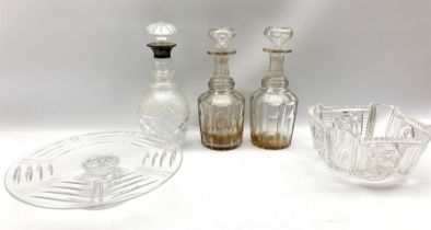 Hobnail cut glass decanter with silver collar and mushroom stopper