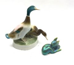 Zsolnay Pecs iridescent model of a recumbent deer together with a model of two Ducks