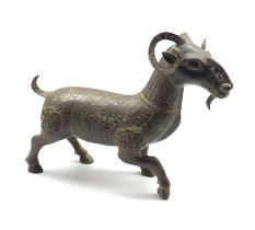 Chinese Archaic style bronze model of a Goat with inscription beneath