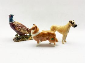 Three Beswick figures comprising a model of a pheasant no. 1225