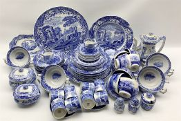 Collection of Copeland Spode Italian pattern blue and white table ware for dinner