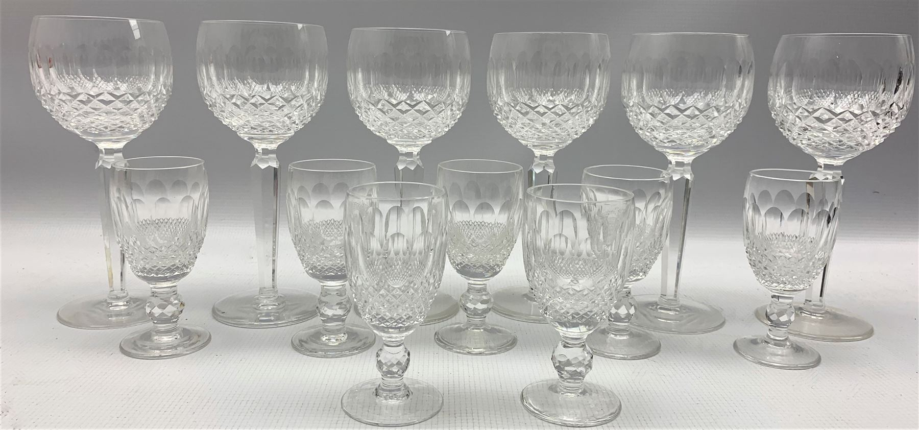 Set of six Waterford Colleen pattern wine glasses and seven matching sherry glasses - Image 2 of 2