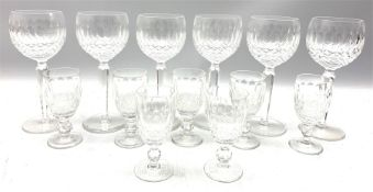 Set of six Waterford Colleen pattern wine glasses and seven matching sherry glasses