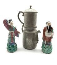 Pair of Chinese Republic male and female standing figures H17cm with pad marks to base and a Wahlee