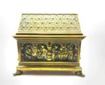 19th century twin-handled brass casket by Adolph Frankau & Co.
