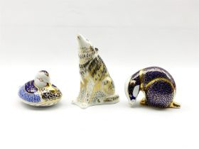 Three Royal Crown Derby paperweights comprising a Wolf