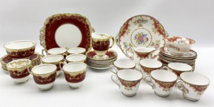 Shelley Sheraton pattern tea set comprising six cups and saucers