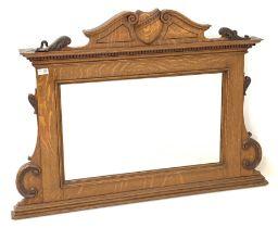 Edwardian oak overmantle mirror