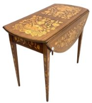 Dutch marquetry Pembroke table inlaid with stylised flowers