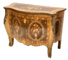 French Louis XV design kingwood commode of serpentine outline with floral marquetry inlay and enclos