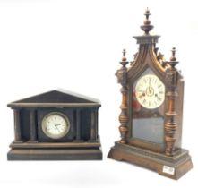 Victorian walnut mantle clock