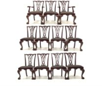 Set of eleven (9+2) Chippendale style mahogany dining chairs