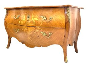 French Louis XV design commode of serpentine outline and with inlaid decoration