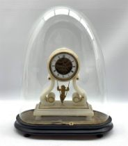 Late 19th century French alabaster mantle clock