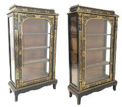 Pair of 20th century ebonised display cabinets
