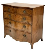 George III mahogany serpentine fronted chest of three long and two short drawers on splay supports W