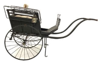 Late 19th century ebonised hand drawn child's carriage