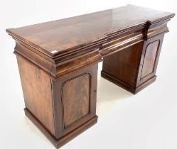Early 19th century figured mahogany twin pedestal sideboard