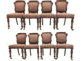 Set eight Victorian mahogany dining chairs