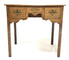 George III oak side table with three drawers