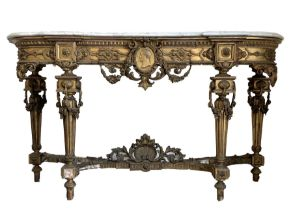 19th century French ornate gilt wood and gesso console table
