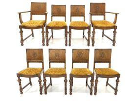 Set eight (6+2) oak dining chairs