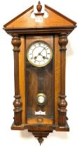 Late Victorian walnut cased Vienna style regulator wall clock