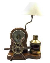 Nautical themed table top lamp and aneroid barometer