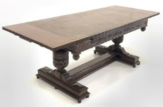 Large oak duo draw leaf dining table