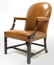 Late 19th/ Early 20th century mahogany Gainsborough style library chair