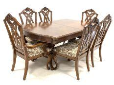 Late 20th century rectangular walnut double pedestal extending dining table