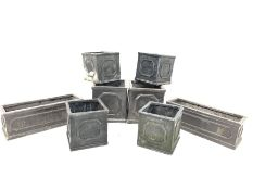 Eight cube lead effect moulded poly garden planters (26cm Max) together with two similar trough shap