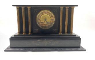 Victorian architectural slate mantel clock