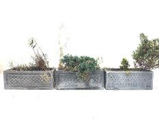 Pair of lead effect trough shaped planters