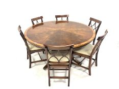 Bevan Funnell Reprodux Regency design cross banded mahogany circular dining table