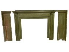 Early 20th century painted pine fire surround