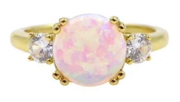 Silver-gilt three stone opal and cubic zirconia ring