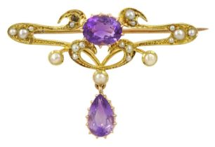 Art Nouveau gold oval and pear shaped amethyst and split pearl brooch